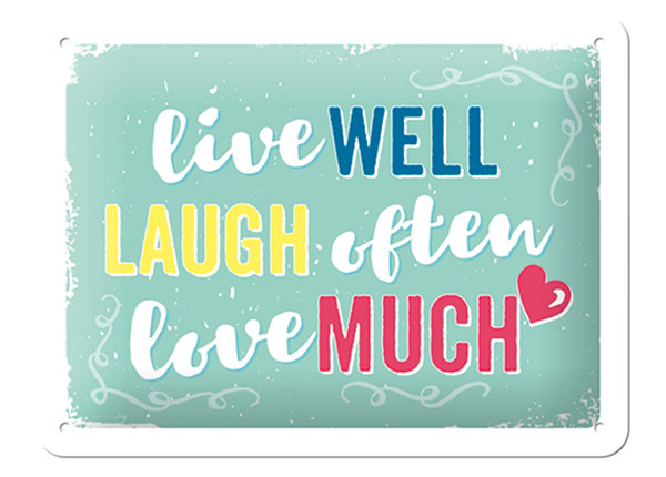 Retro metallposter Live well, laugh often, love much 15x20 cm