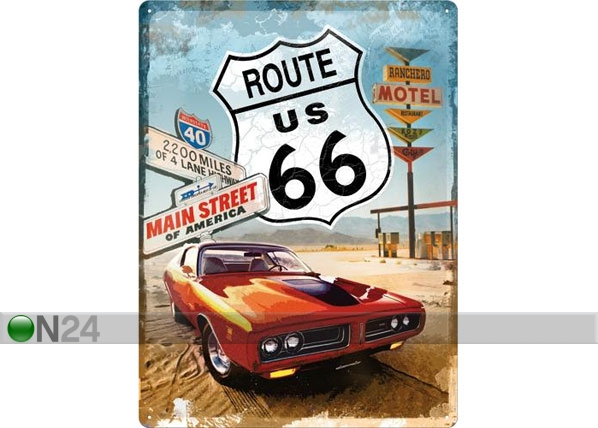 Retro metallposter Route 66 Gas Up 30x40cm SG-78394