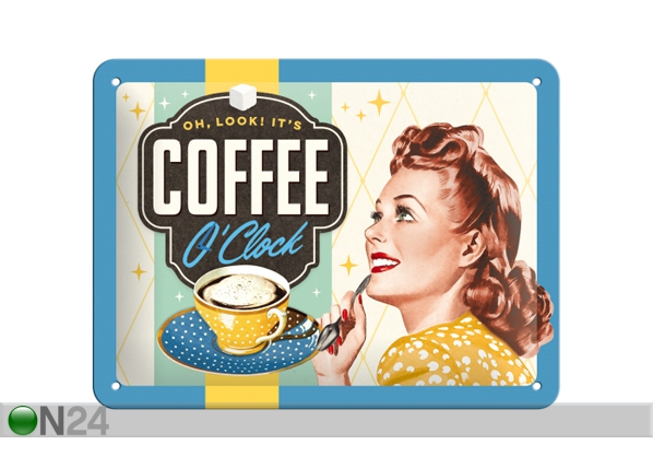 Retro metallposter Coffee O'clock 15x20 cm SG-84359