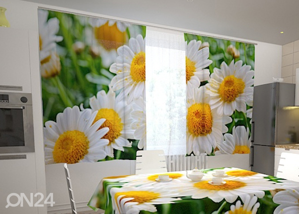 Poolpimendav kardin White camomiles for the kitchen 200x120 cm ED-98460