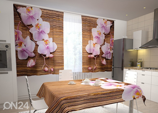 Läbipaistev kardin Orchids and tree in the kitchen 200x120 cm ED-98483